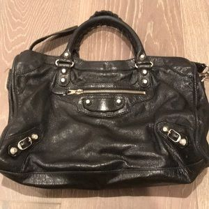 Real black balenciaga studded purse